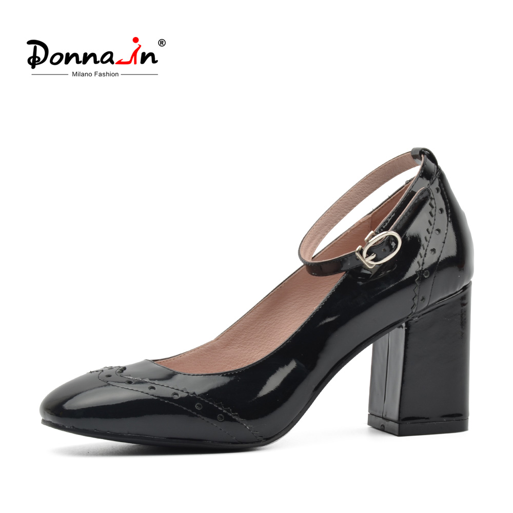Donna-in 2018 Women Genuine Leather Pumps shoes New Ethnic style Fashion black Square Heel Ladies Shoes with Buckles for Women ethnic embroidered black cami dress for women