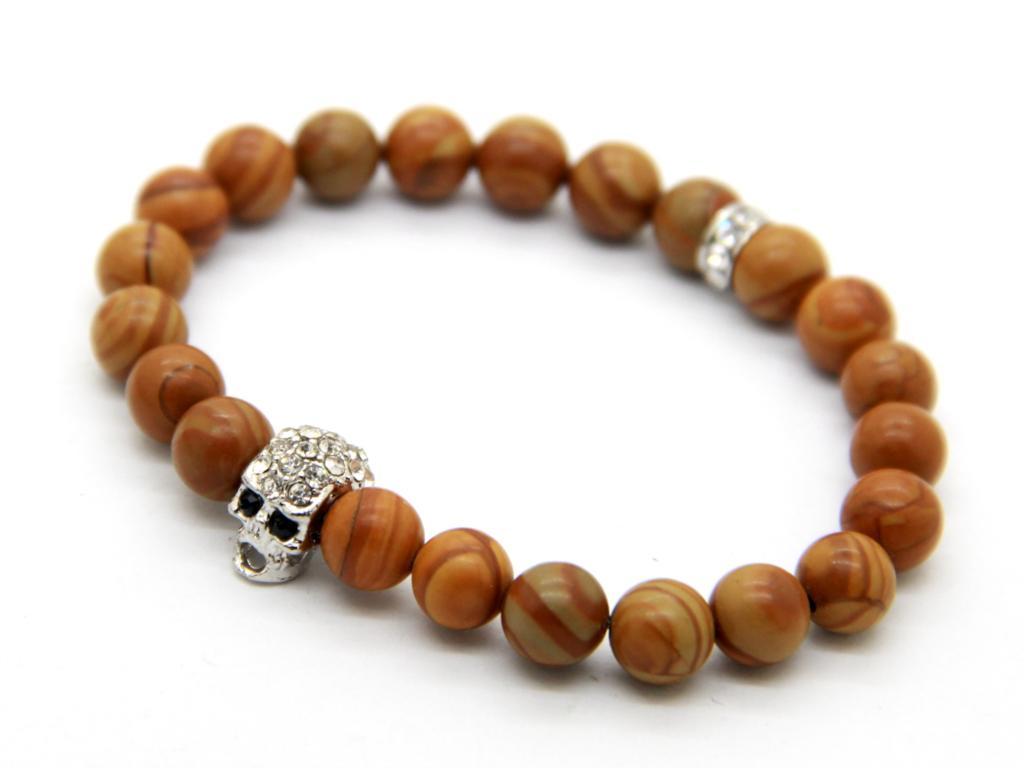 Bracelet Wood Grain Stone Beads