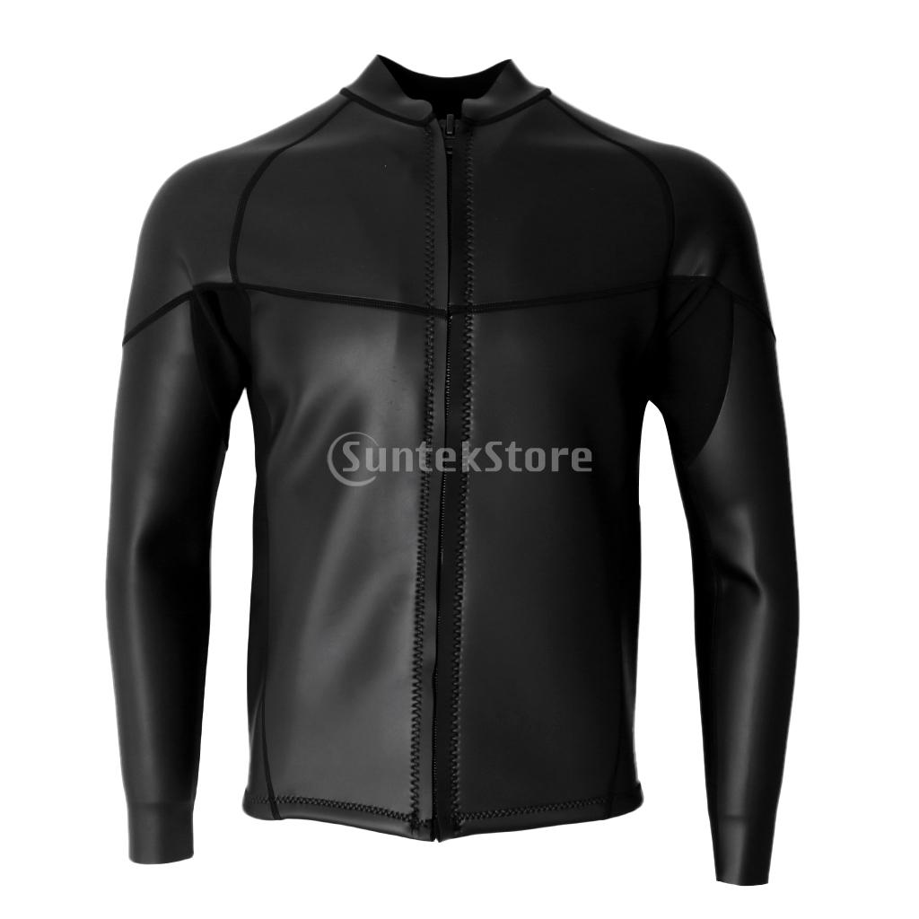 Men's 2mm Black Neoprene Wetsuit Top Jacket Smooth Skin for Diving Surfing S-XXXL All Sizes