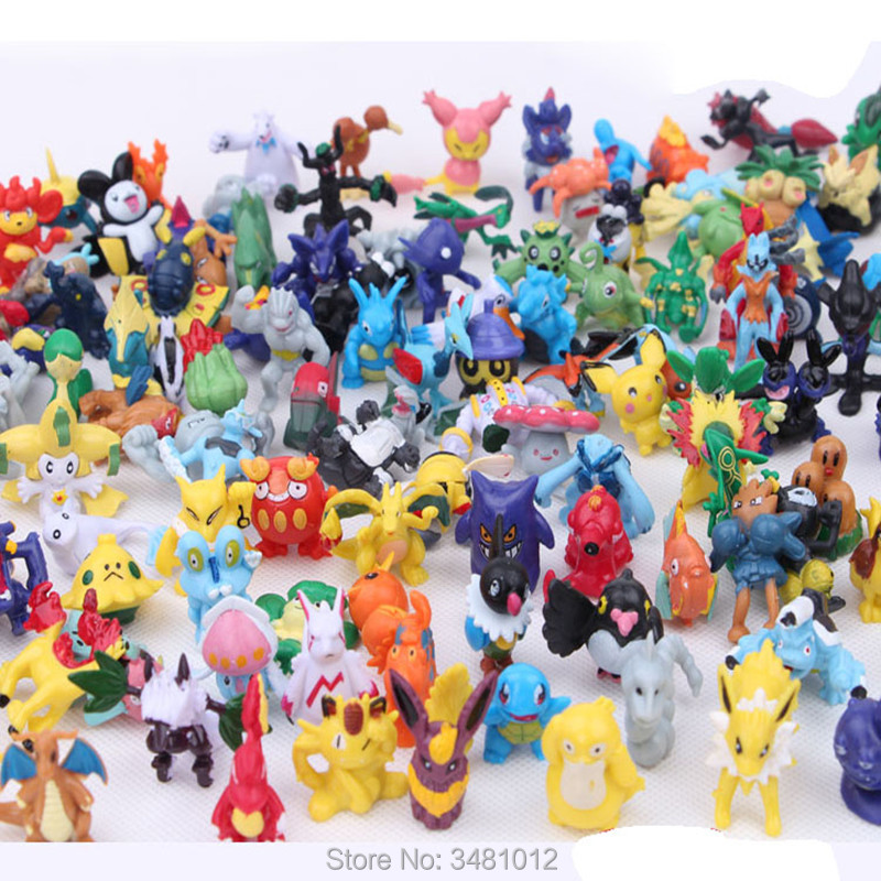 144pcs Pocket Monster Squirtle Miniature PVC Action Figures Mini Pikachu Cartoon Anime Figurines Pokeball Model Dolls Kids Toys
