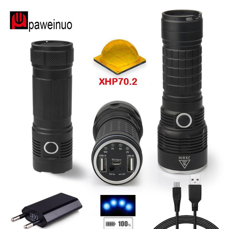 50000 lumens XLAMP XHP70.2 plus puissant lampe de poche USB 18650 rechargeable xhp70.2 spotlight chasse LED torche banque mobile de puissance