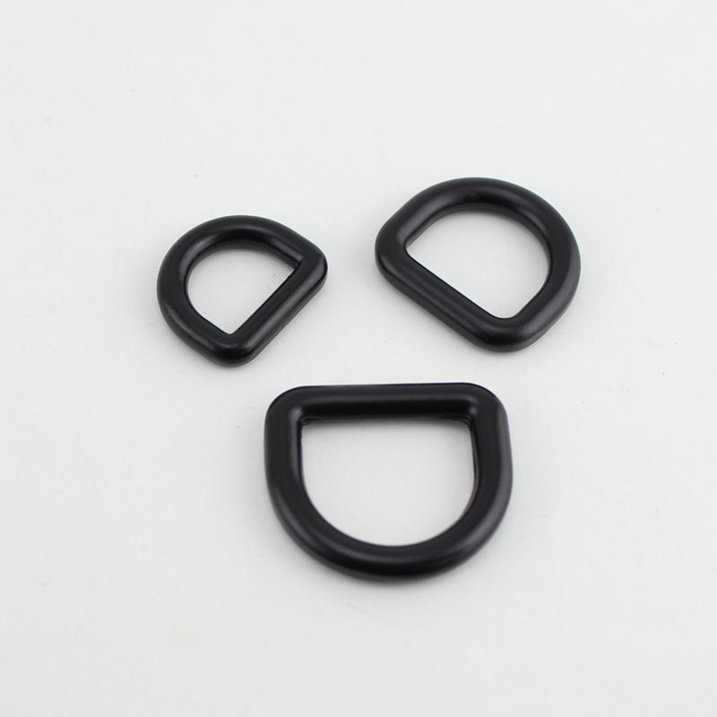 13mm 25mm Dark Black Bags' Polished Nickel Inside Bags Metal Accessory Alloy Cast Solid Non Welded D Ring DIY Bag Parts