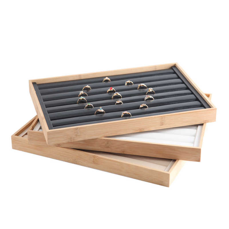 Mordoa New Arrival Bamboo wood Jewelry Display Jewellery Tray Ring Holder Necklaces Organizer Bracelets Showcase Pendants Box