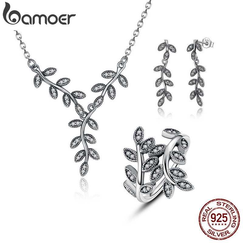 BAMOER 925 Sterling Silver Sparkling Leaves Leaf Long Pendant Necklace Silver Bridal Jewelry Sets Sterling Silver Jewelry ZHS010