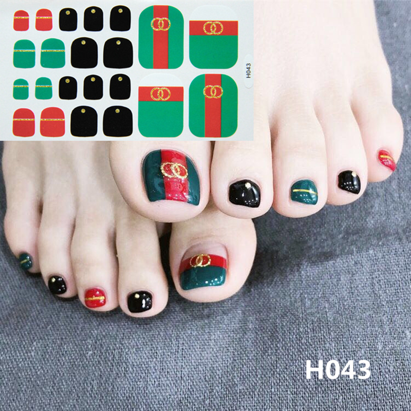 Image 5 - 22tips Korea Toe Nail Sticker Wraps Adhesive Decals Toenail Polish Strips DIY Pedicure Foot Decals Manicure Women-in Stickers & Decals from Beauty & Health