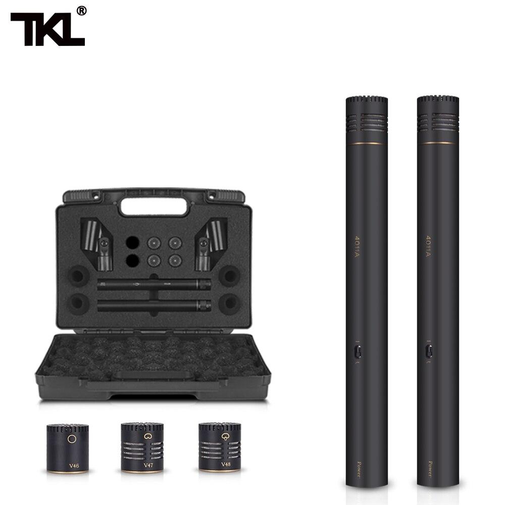 TKL 2-Pack Lápiz palo condensador micrófono Omni Cardioid Super Cardioid cápsulas Clip de micrófono y estuche de transporte portátil