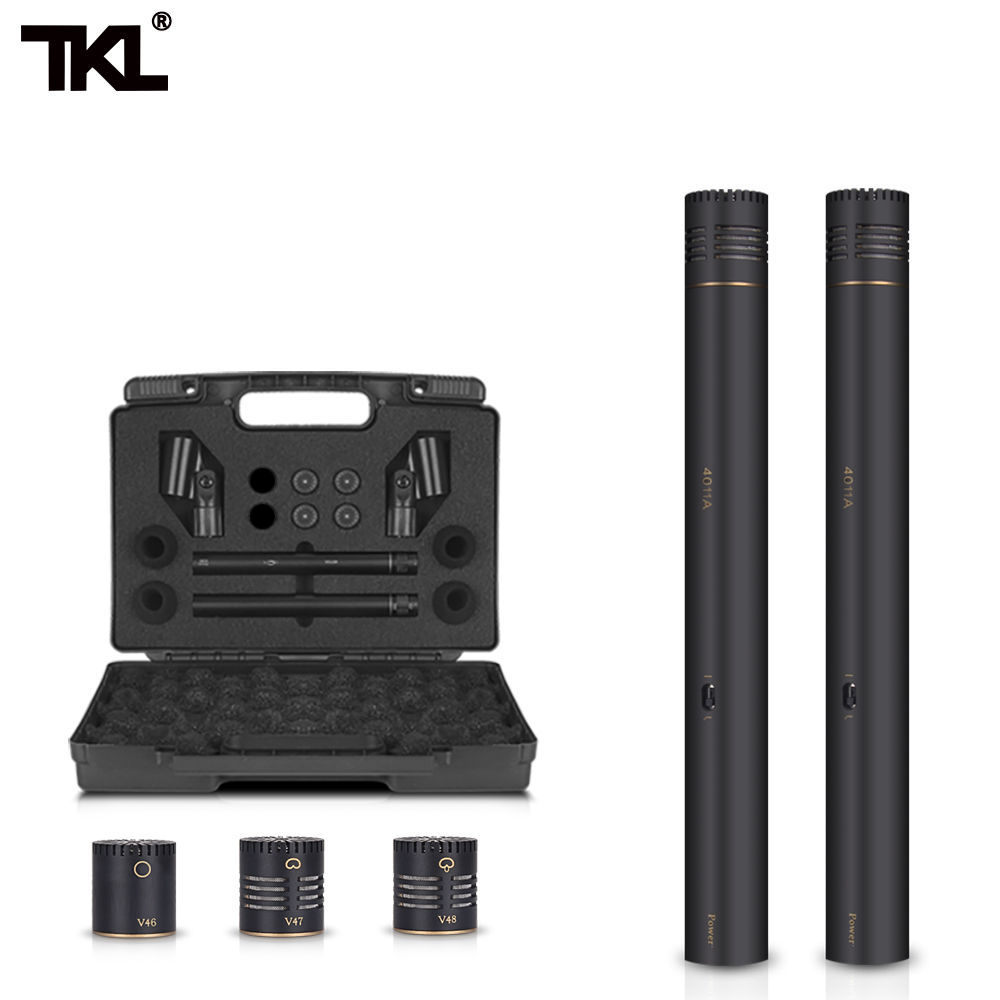 TKL 2-Pack Pencil Stick Condenser Microphone Omni Cardioid Super Cardioid Capsules  Mic Clip And Portable Carrying Case