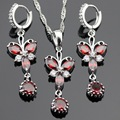 Butterfly Red Created  Garnet Silver Color Jewelry Sets Necklace Pendant Long Earrings For Women Christmas Free Gift Box