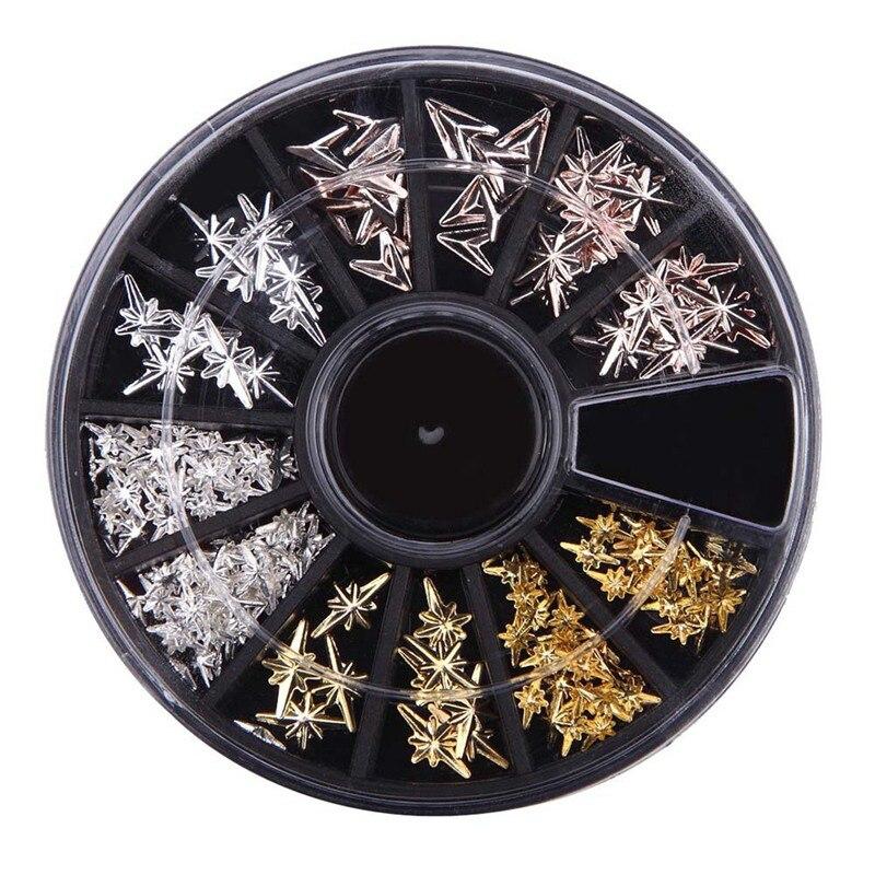 1 Box Rose Gold Metal Rivet Nail Studs V-shaped Arrow Starlight 3D Nail Art Decoration in Wheel Manicure Nail Accessories