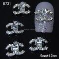 B731 10 unids/lote logo Moda Rhinestone de La Aleación DIY Decoración De Las Extremidades Del Dedo Del Arte Del Clavo Del Clavo
