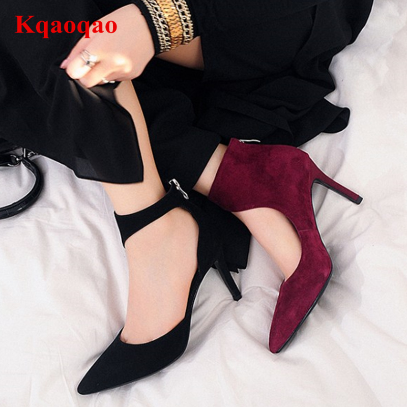 Kid Suede Chic Women Lady Heels Pointed Toe Back Zipper Women Pumps Wedding Dress Party Luxury Brand Runway S-shape Roman Shoes 2017 new fashion brand spring shoes large size crystal pointed toe kid suede thick heel women pumps party sweet office lady shoe