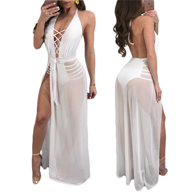 9bcf637b438 Sexy Deep V-Neck Backless Long Dress Women High Split Halter Mesh Sheer Maxi  Dresses Sleeveless Black White Party Dress Vestidos