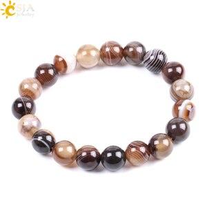 Image 5 - Мужской браслет CSJA из натурального драгоценного камня, агата, оникса, 10 мм, коричневая полоса, этнические четки, энергетические бусины, молитвенный браслет F113