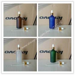 100 мл матовый прозрачный/зеленый/коричневый/синий стеклянная бутылка с блестящей Золотое кольцо черный/белый каучуковый крышка, бутылка с