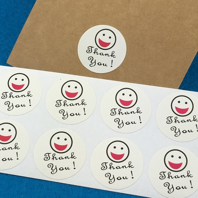 500pcs thank you sticker labels white cute smiling face add thank you round stickers reward kids