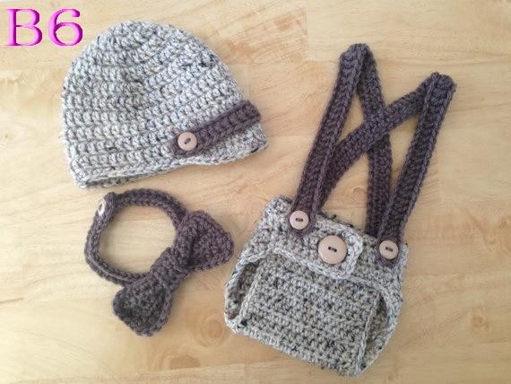 ᗐDel bebé del ganchillo de tres piezas (sombrero + la cubierta del ...