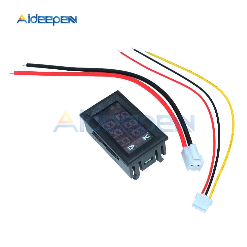 """Mini Digital Voltmeter Ammeter DC 100V 10A Voltmeter Current Meter Tester 0.28"""" 0.28 inch Blue+Red LED Amp Dual LED Display 4"""