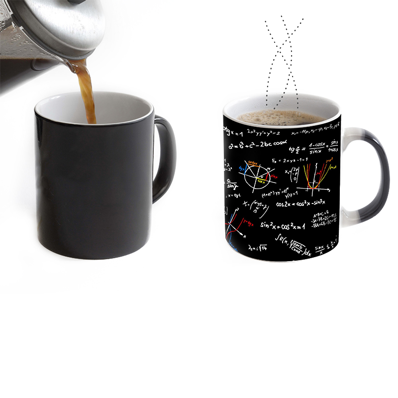 math teacher mugs morph cup gifts magical heat sensitive Black colour change morphing coffee Tea Cups