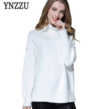 YNZZU White knitted sweater women 2017 Winter Solid long sleeve pullover sweatesr warm turtleneck sweater jumper women tops T073
