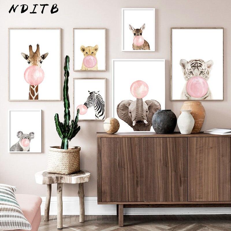 Różowa bańka słoń żyrafa dziecko plakat zwierząt ściany płótno artystyczne przedszkole obraz z nadrukiem Nordic Kid pokój dziecięcy obraz do dekoracji