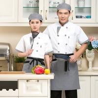 1 set Unisex Chef Top Jackets,Food Cooking sushi Kitchen Work Wear ,Chef (uniform apron ,hat)