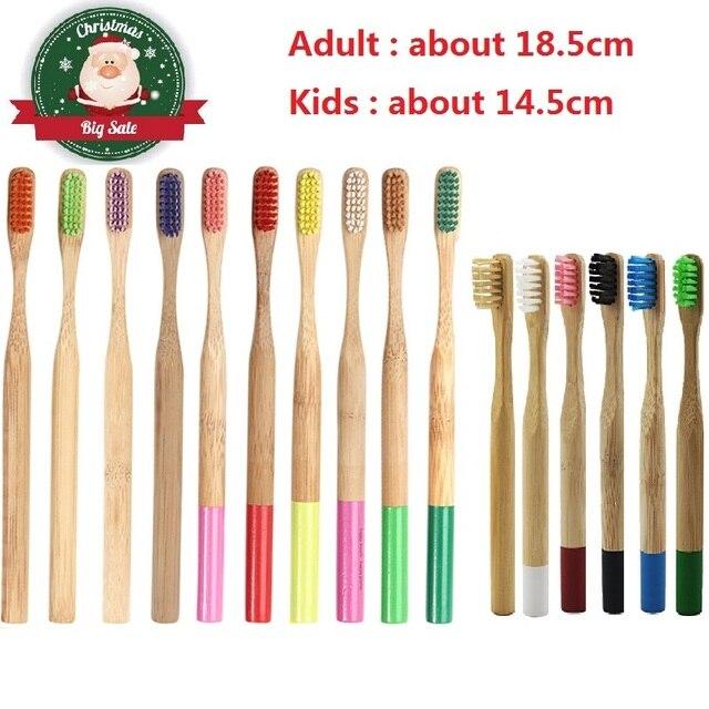 Venta al por mayor 1 piezas adultos y niños de bambú cepillo de dientes Natural bajo en carbono respetuoso del medio ambiente cepillo de dientes de cerdas suaves de Cuidado Oral