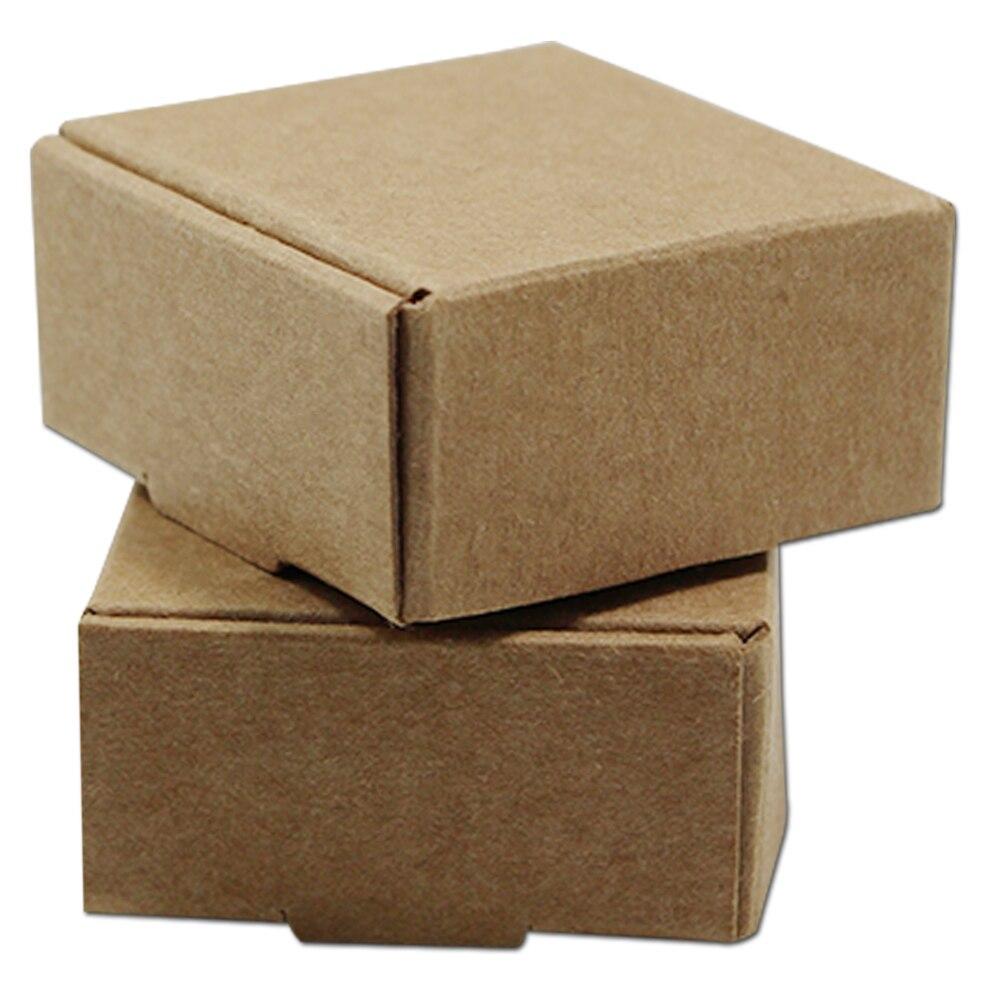 100 pcs/Lot Multi-größen Kraft Papier Boxen Braun DIY Geschenk Paket Box Faltbare Paper Werden Boxen Für Weihnachten hochzeit Dekoration