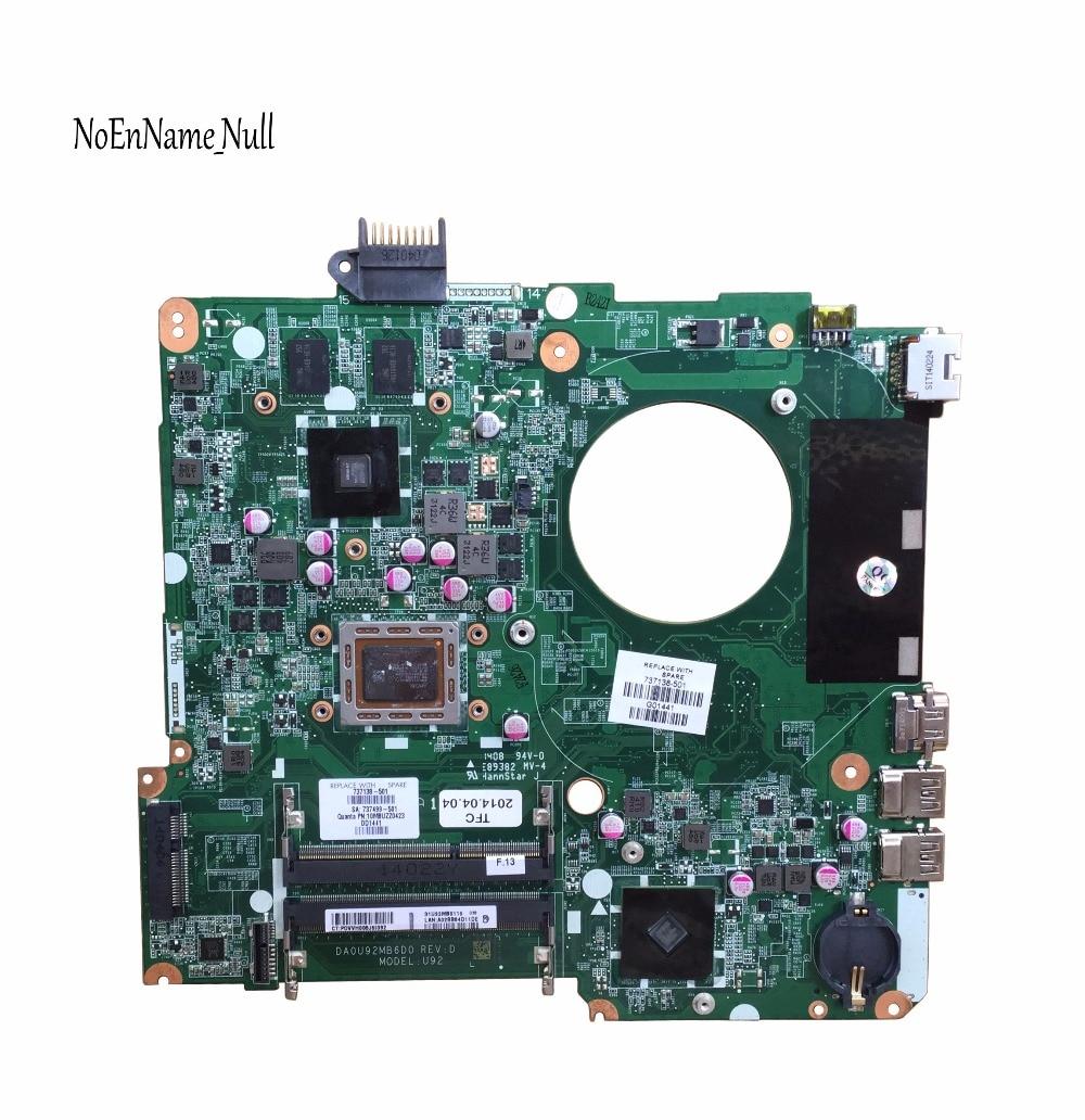 737138 501 for HP PAVILION 15 15 N15Z N100 laptop motherboard DA0U92MB6D0 REV:D 737138 001 Mainboard 100% tested