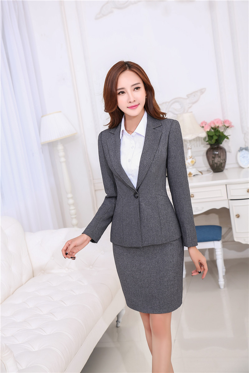 Winter Outfit Frauen Set Herbst Business Rock Grey Winter Outfits 2015 Arbeit Elegante