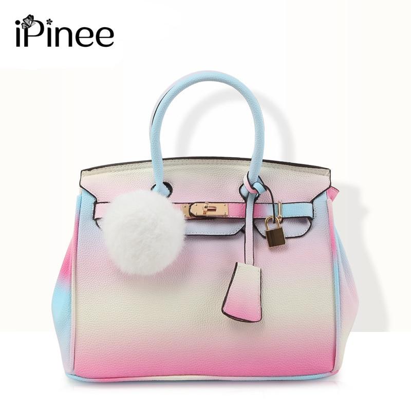 4351eff1a043 Ipinee Лето Карамельный цвет сумка Роскошные Сумки Для женщин Сумки дизайнер  высокое качество Радуга Сумки Элитный бренд