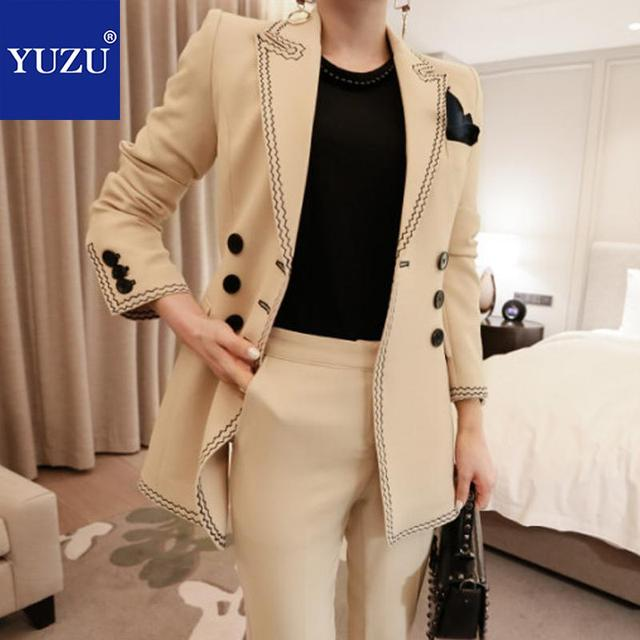 Suit Women Apricot Business Suits Ladies Double Breasted Turn-down Collar 2018 Autumn Fashion 2 Pieces Blazer And Pants Set
