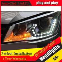 Auto Clud 2013,2014,2015 vw jetta MK6 headlights LED car styling 15 LED DRL Q5 bi xenon lens parking xenon H7 VW jetta head lamp