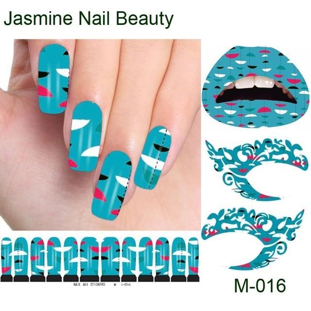 Free Shipping 24pc Half Moon Nail Art Sticker Water Transfer Blue