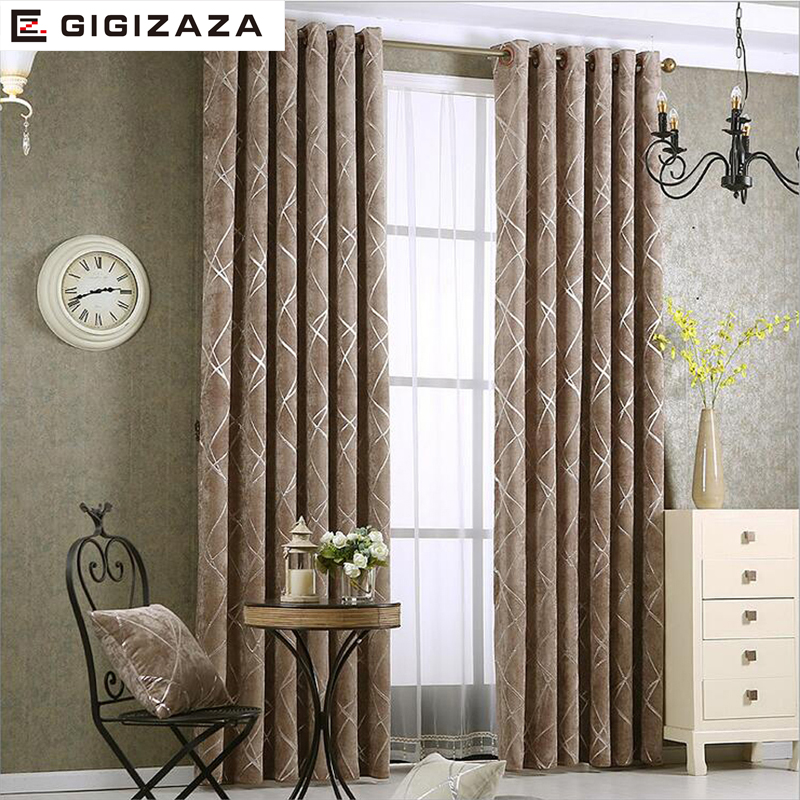 Blackout Jacquard Silver Curtains for Living Room Chenille American Modern Luxury Blind Fabric Geometric Drape Bedroom Window(China)