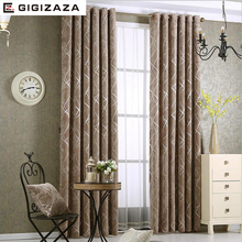 Blackout Jacquard Silver Curtains for Living Room Chenille American Modern Luxury Blind Fabric Geometric Drape Bedroom Window