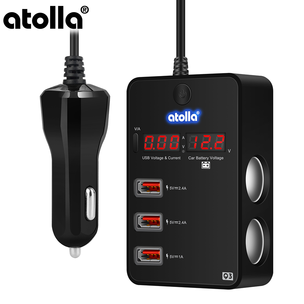 atolla usb 3 0 hub Splitter Car Charger 120W 12V 24V Car Cigarette Lighter to 3