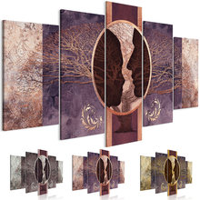 Abstract figure wall art she and he brown canvas painting 5