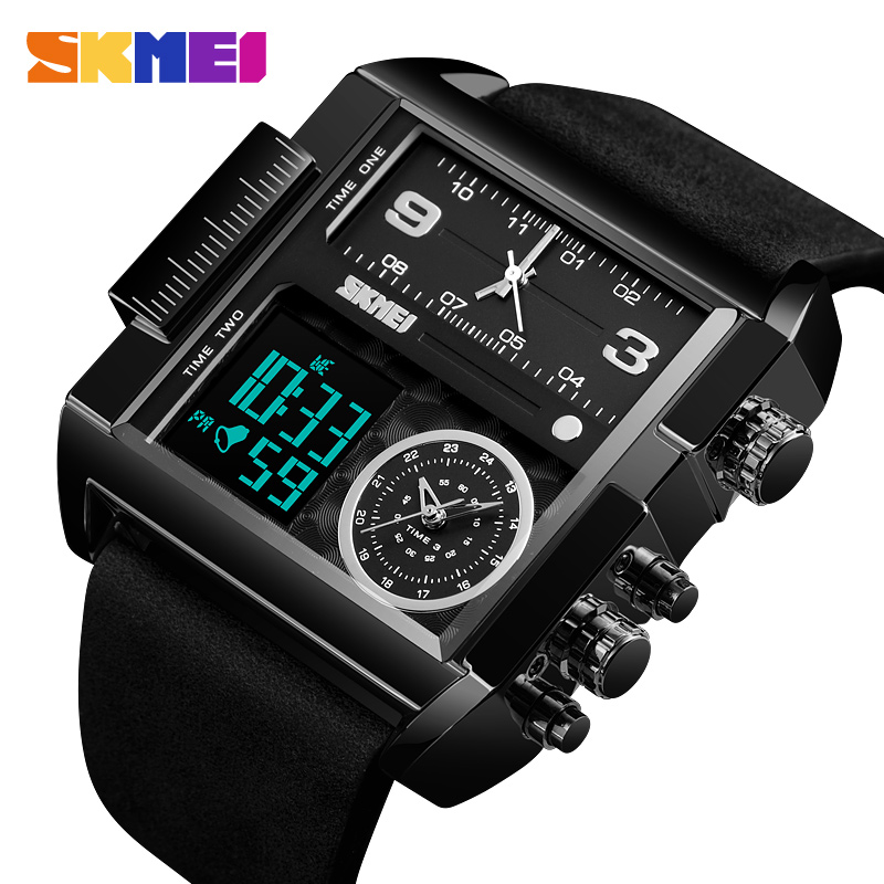 Sports Watches Men Waterproof Leather Strap Quartz Watch Mens Luxury Brand Wrist Watch Casual Clock Man relogio masculino SKMEI
