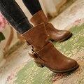 2016 otoño botas de tacón bajo de la motocicleta cinturón de hebilla de cuero suave de LA PU de las mujeres del tobillo de arranque botines de cuero mujer plana zapatos