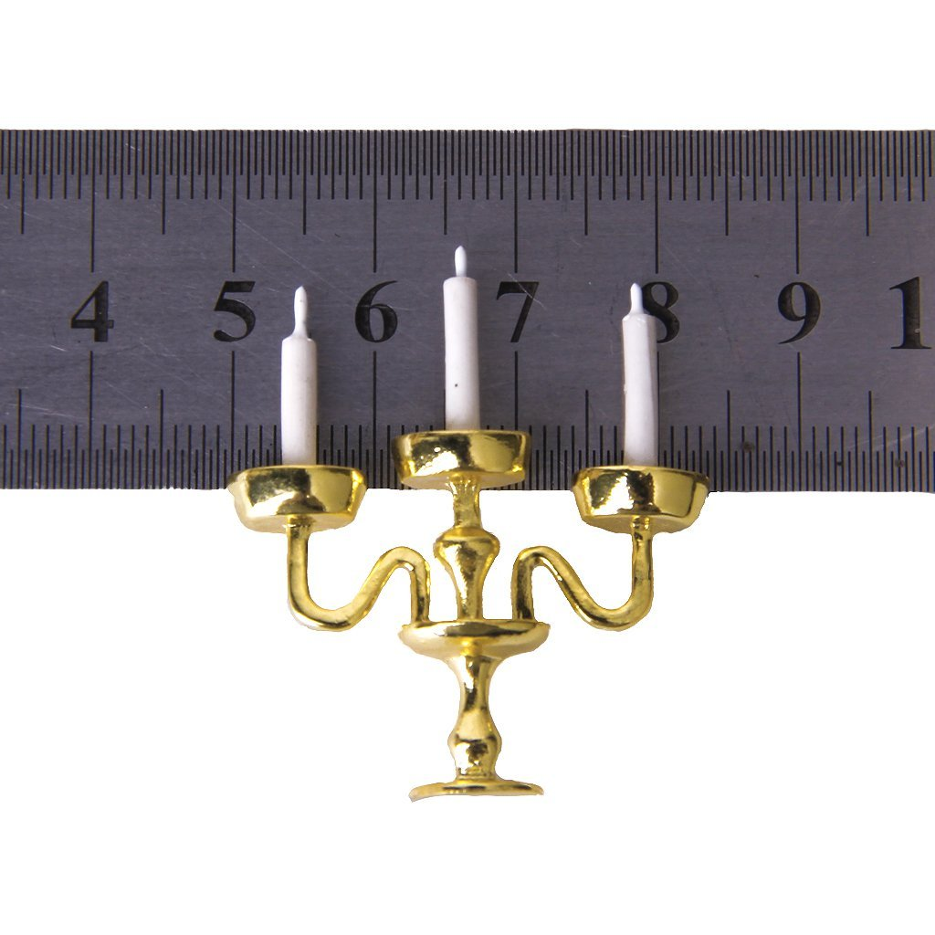 Miniature Gold Candelabra 3 White Candles FOR Dolls House 1//12 Scale