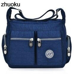Для женщин топ-ручка сумка дизайнер Сумки известный бренд нейлон женский Повседневное торгового Hobos Bolsas ZHUOKU Новый