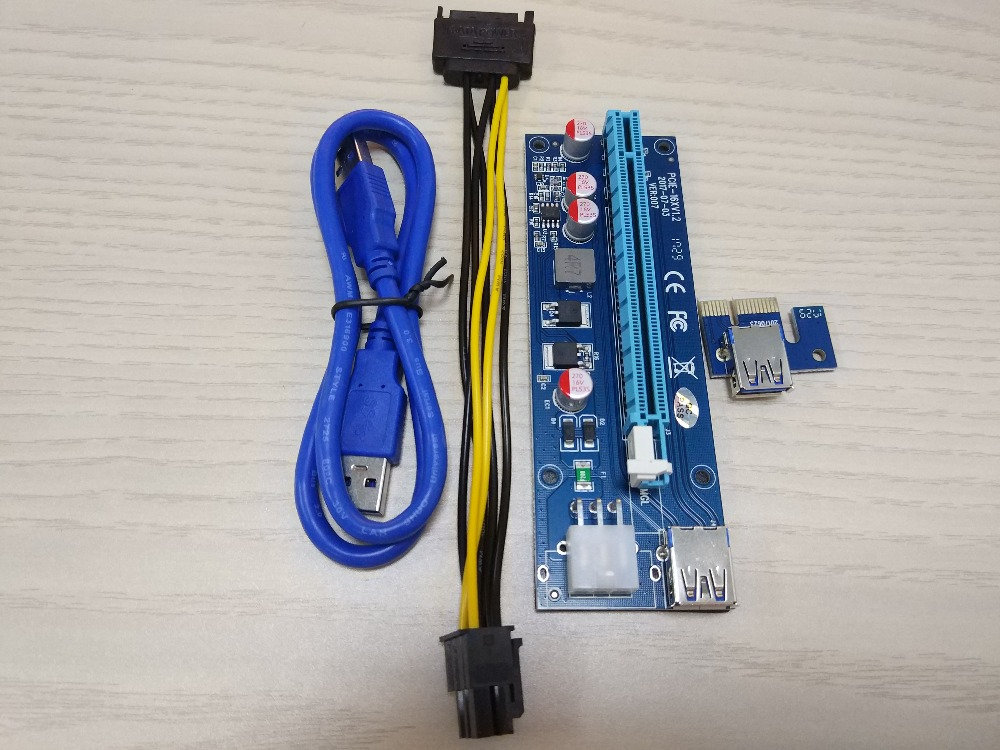 100pcs PCI-E Riser Adapter Card Powered PCIe VER007 16x to 1x 60cm USB 3.0 Extension Cable & 6-Pin PCI-E to SATA Power Cable 009s 16x to 1x w 60cm extension cable pci e riser adapter card powered pcie