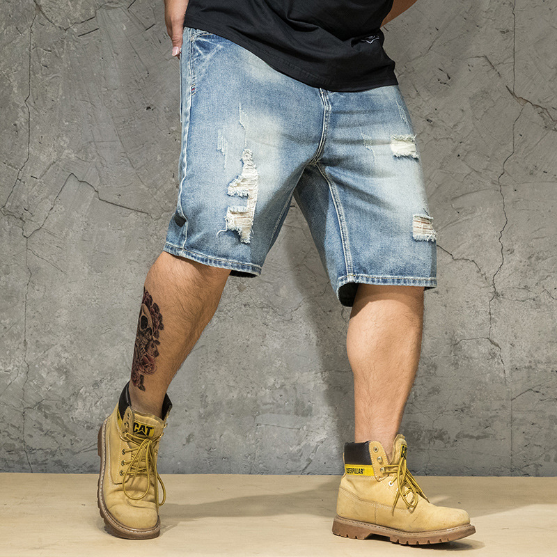 Mens Shorts Summer Jeans Short Men 6XL 2019 Blue Denim Man Half Jean Homme Uomo Brand Plus Size 5XL Ripped Distressed Trousers