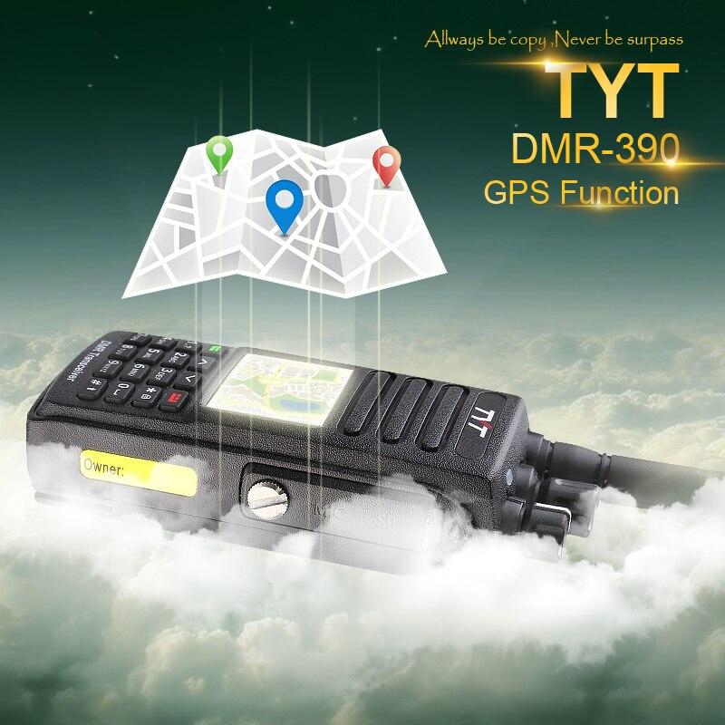 100% Marque Nouvelle Usine Autorisé IP-67 Étanche TYT VHF DMR Talkie Walkie MD-390 avec GPS et Câble de Programmation
