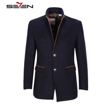 Seven7 Brand Winter Warm Coats Men Classic Short Woolen Fashion 2 Buttons Coats Plus Size Turn Down Collar Overcoat 109K20380