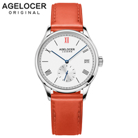Agelocer Swiss Brand Ladies Watches Automatic Women Watch Red Leather Sapphire Glass Waterproof Mechanical watch Montre Femme