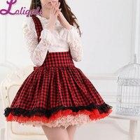 Ngọt Phong Cách Nhật Bản Siêu Đáng Yêu Đỏ và Đen Kẻ Sọc Xếp Li Ren Jumper Váy cho Cô Gái Miễn Phí Vận Chuyển