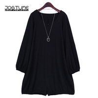 Amoyblue Fashion Playsuits 2017 Womens Autumn Jumpsuit Dress Long Sleeve Black Color Ladies Sexy Loose Bodysuits