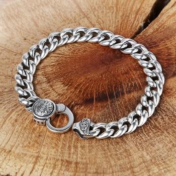 New Personality Men bracelet 925 Sterling Silver Fashion Six Words Style Vintage Bracelet & Bangle Best Gifts Simple Jewelry