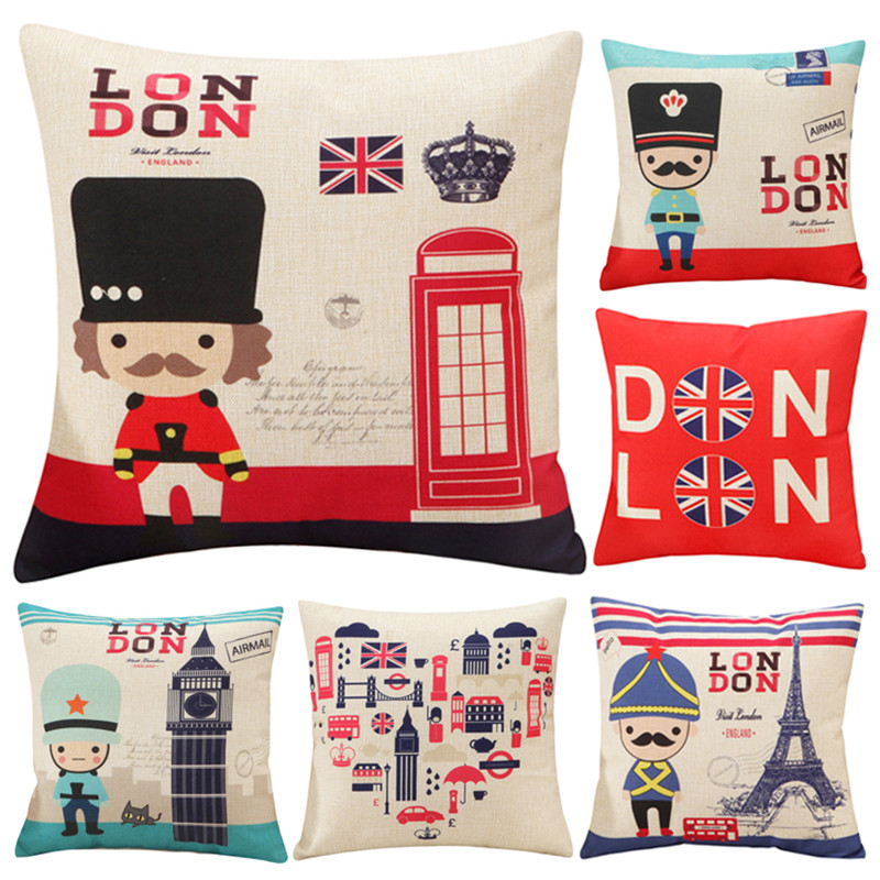 England london Cushion Cover Throw Pillow Fashion Printied Linen Pillows Cover Car Sofa Home Decorative Pillowcase BZ-011